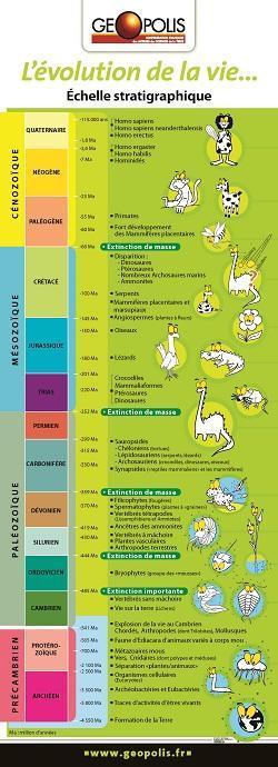 Plaquette : Echelle des temps géologiques, de l'évolution et orogenèses