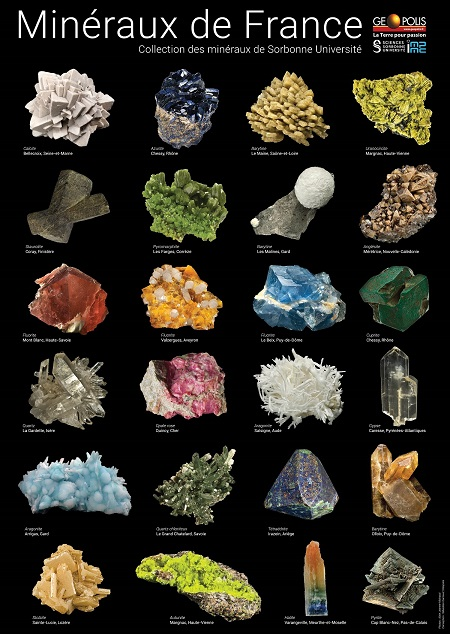 2 Posters - Sélection des 24 plus beaux minéraux français de la collection Sorbonne Université